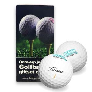 Giftset Golfballen 2 stuks + bedrukt doosje - Golfballen - DesignOntwerpen