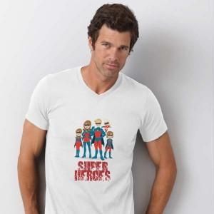 T-shirt V-hals bedrukken: Voorkant op de borst - T-shirts - DesignOntwerpen