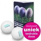 Giftset Golfballen 2 stuks + bedrukt doosje