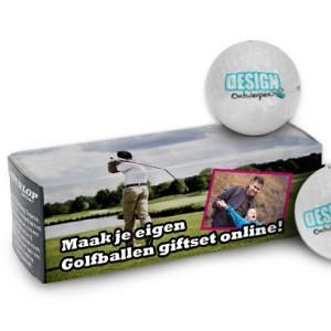 Giftset Golfballen 3 stuks + bedrukt doosje - Golfballen - DesignOntwerpen
