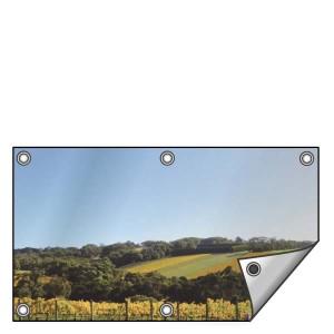 Buitendoek 150x50 cm - met ringen - Spandoek - liggend - DesignOntwerpen